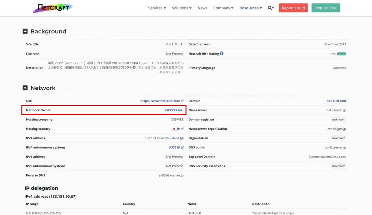 NETCRAFTのサーバー検索終了後